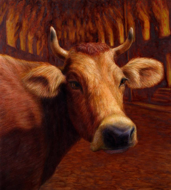 Cow Poster featuring the painting Mrs. O'leary's Cow by James W Johnson