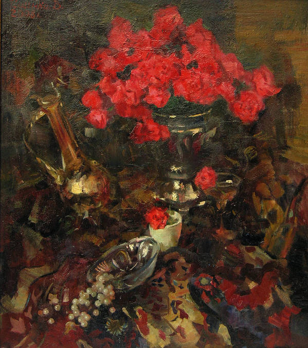 Rose Poster featuring the painting Rose On The Carpet by Ishenko V'yacheslav