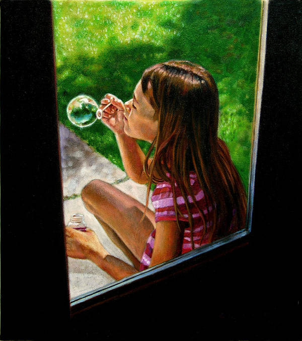 Girl Poster featuring the painting Sierra Blowing Bubbles by John Lautermilch