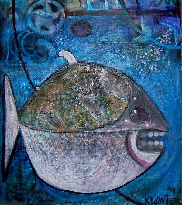 Fish Sea Marine Dentist Floss Poster featuring the mixed media Teeth by Dave Kwinter