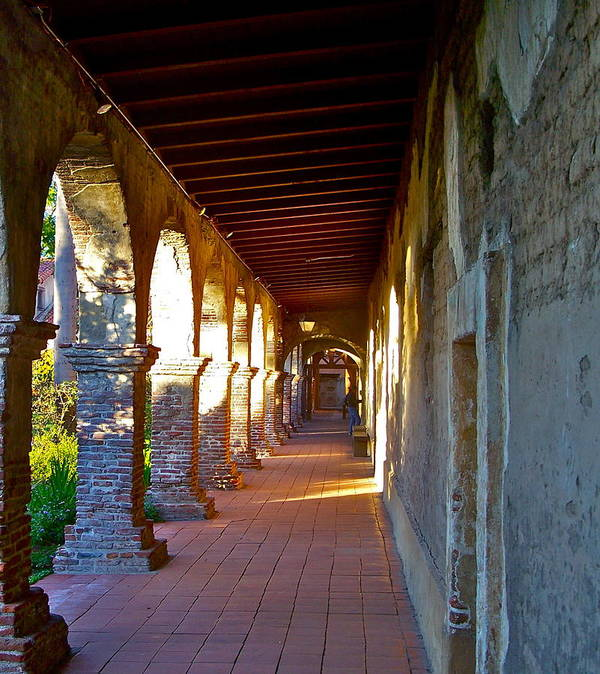 Corridor Poster featuring the photograph The Corridor By The Serra Chapel San Juan Capistrano Mission California by Karon Melillo DeVega