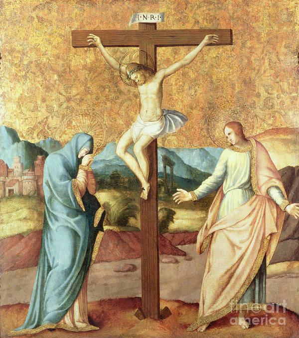 Landscape; Grieving Poster featuring the painting The Crucifixion With The Virgin And St John The Evangelist by French School
