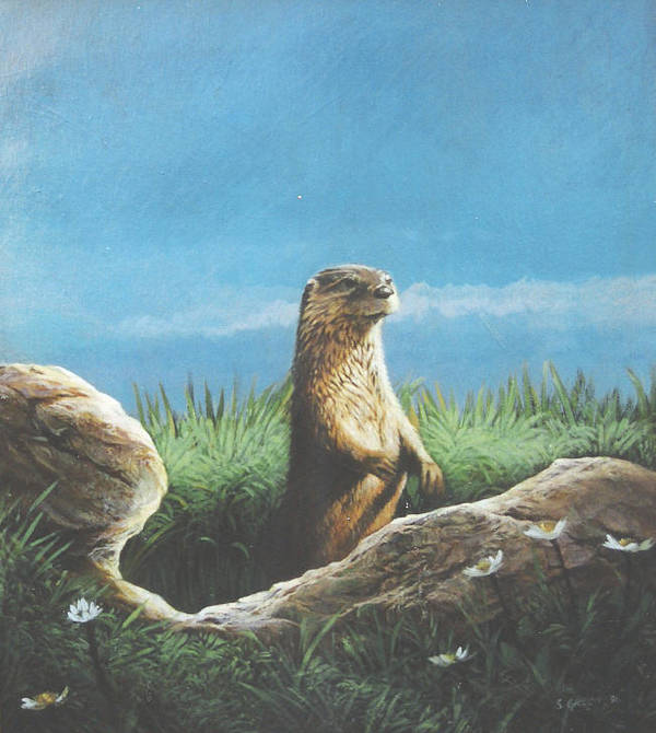 Wildlife Poster featuring the painting River Otter by Steve Greco