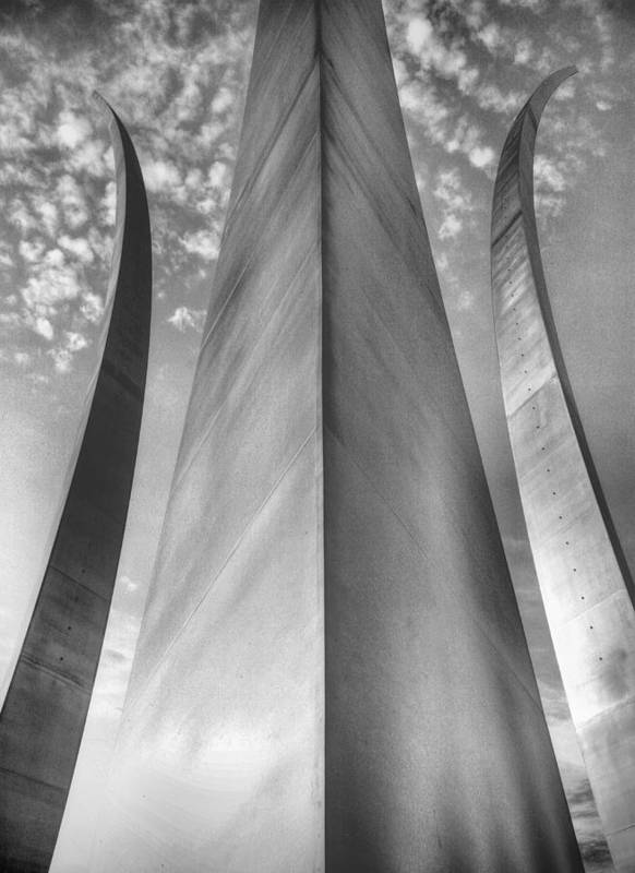 Usaf Poster featuring the photograph The Usaf Memorial In Black And White by JC Findley