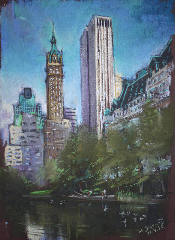 Ny City Poster featuring the pastel Nyc Central Park 2 by Ylli Haruni