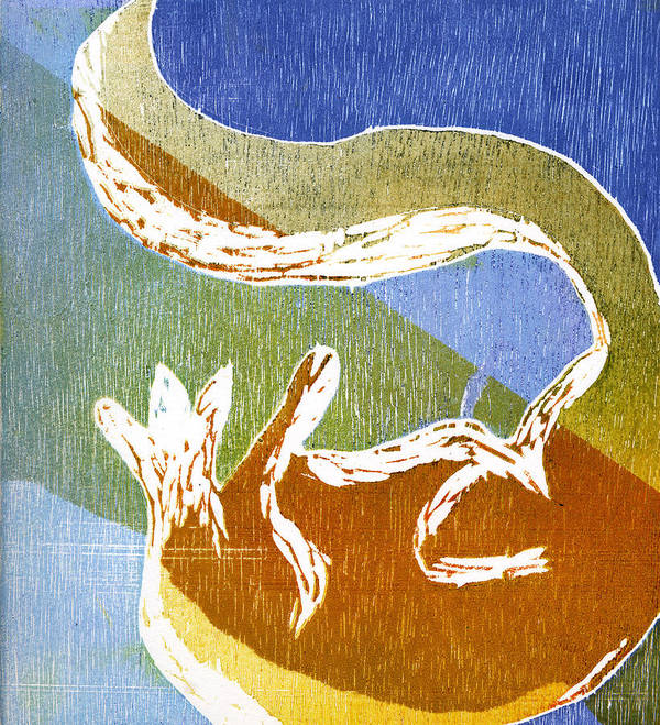 Fox Poster featuring the painting Fox Roll by Rebecca Bourke