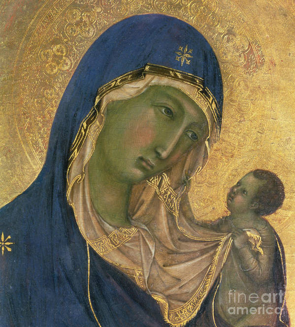 Virgin And Child Poster featuring the painting Madonna And Child by Duccio di Buoninsegna
