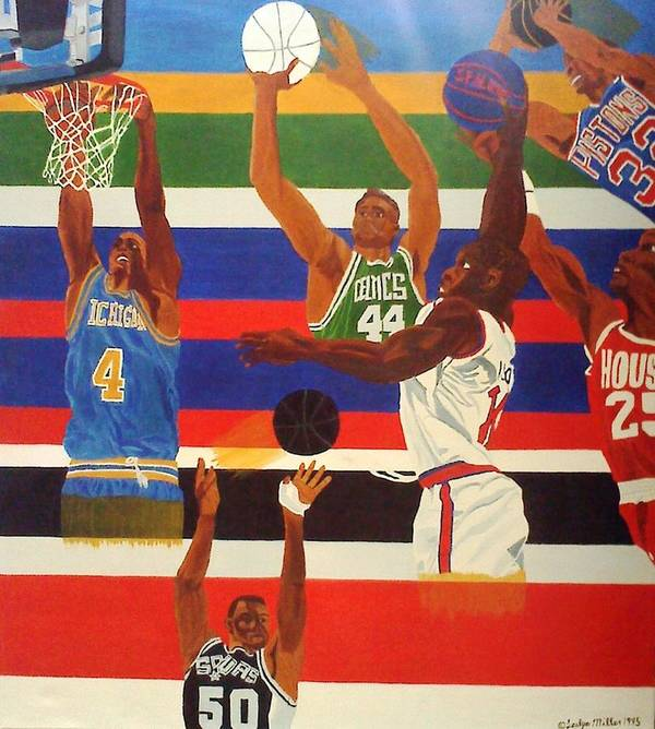 Basketball Poster featuring the painting Shoots N Hoops by Leslye Miller