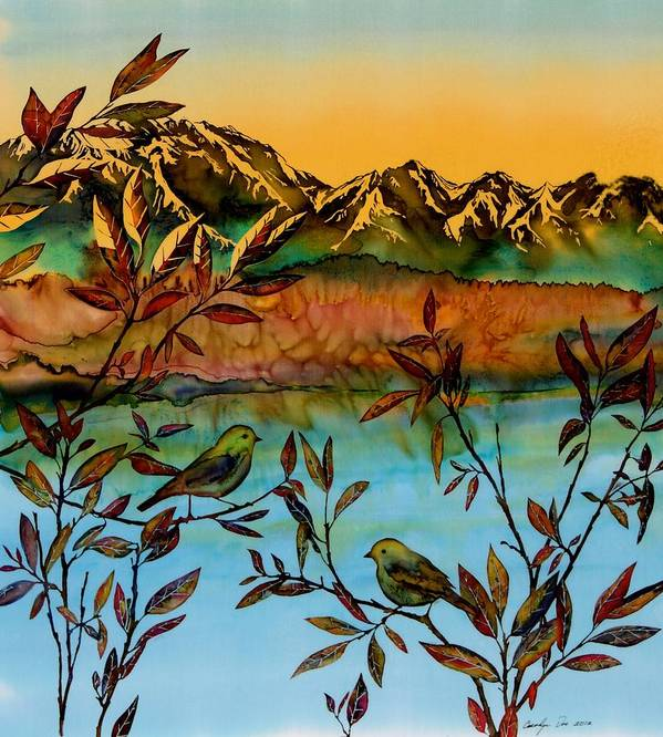 Sunrise Poster featuring the tapestry - textile Sunrise On Willows by Carolyn Doe