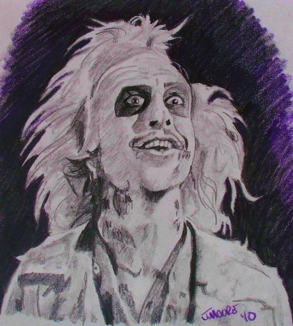 Beetle Juice Michael Keaton Tim Burton Ghost Comedy Death Afterlife Movie Poster featuring the drawing The Ghost With The Most by Jeremy Moore