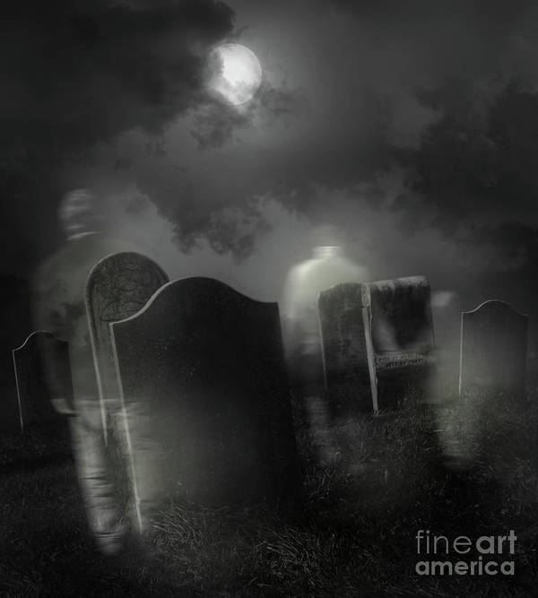 Background Poster featuring the photograph Ghosts Wandering In Old Cemetery by Sandra Cunningham