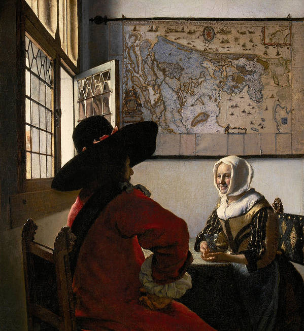 Amorous; Couple; Male; Female; Love; Lover; Lovers; Admirer; Coy; Shy; Reserved; Courting; Flirtation; Flirting; Laughing; Girl; Smile; Smiling; Gallant; Seated; Interior; Open; Window; Traditional; Dress; Costume; Headdress; Hat; Dutch; Domestic Poster featuring the painting Amorous Couple by Jan Vermeer