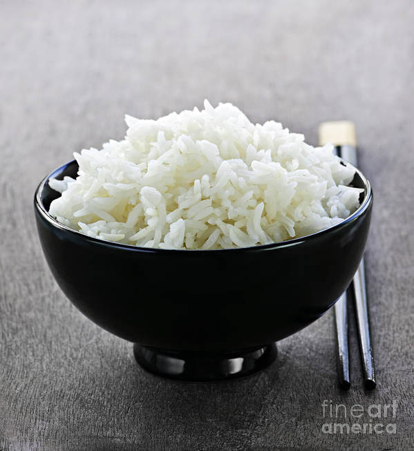 Rice Poster featuring the photograph Bowl Of Rice With Chopsticks by Elena Elisseeva
