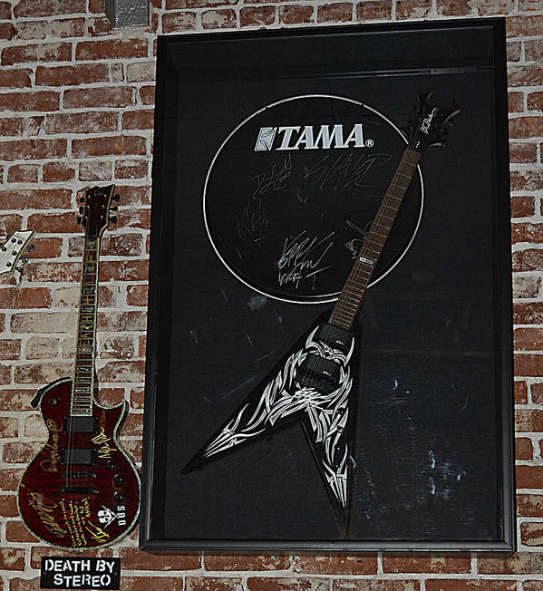 Vintage Music Poster featuring the photograph Death By Stereo Band Memorabilia-autographed Guitar by Renee Anderson
