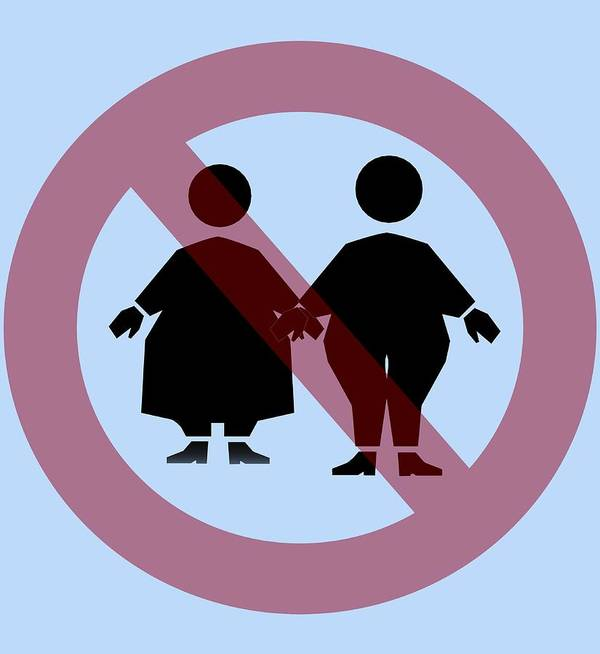 Sign Poster featuring the photograph Weight Discrimination, Computer Artwork by Christian Darkin