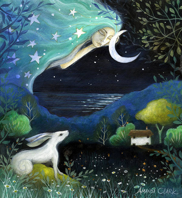 Fairytale Poster featuring the painting Moon Dream by Amanda Clark