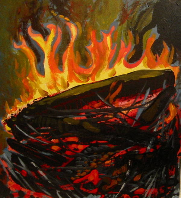 Nest Poster featuring the painting Nest On Fire by Tilly Strauss
