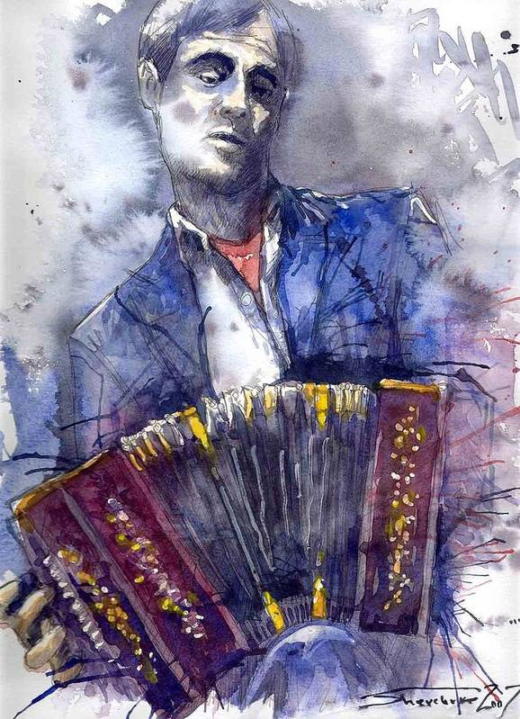 Jazz Poster featuring the painting Jazz Concertina player by Yuriy Shevchuk