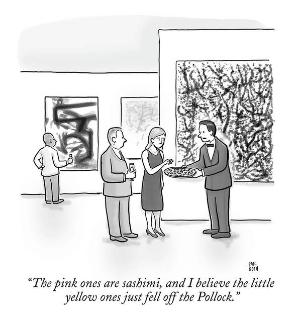 Art Galleries Poster featuring the drawing A Waiter Is Seen Speaking With A Woman In An Art by Paul Noth
