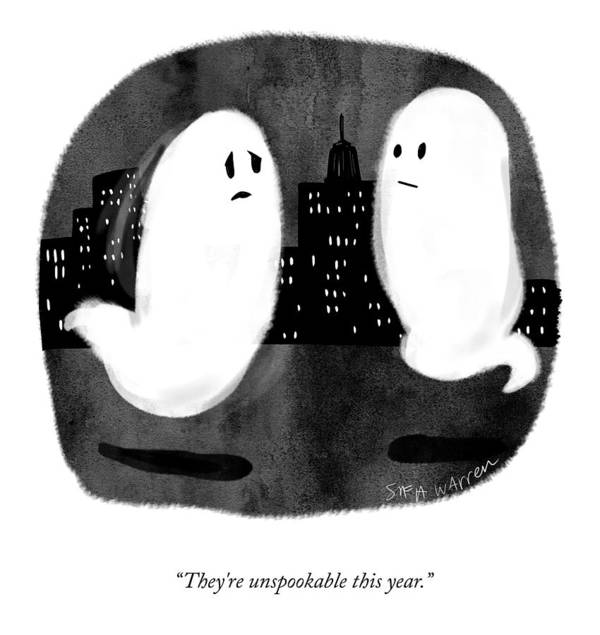 They're Unspookable This Year. Ghost Poster featuring the drawing They're Unspookable by Sofia Warren