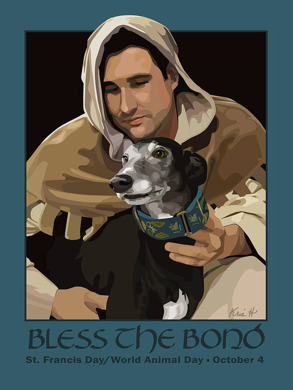 Dogs Poster featuring the digital art St. Francis With Greyhound by Kris Hackleman
