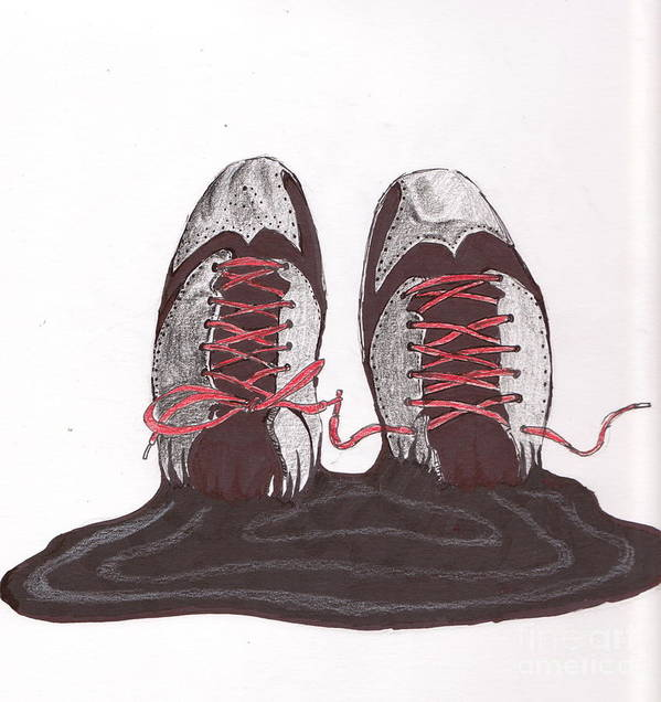 Shoes Poster featuring the drawing Inked Aj2012 by Dallas Roquemore