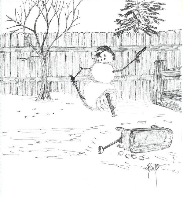 Snowman Poster featuring the drawing The Pirate In My Backyard - Sketch by Robert Meszaros