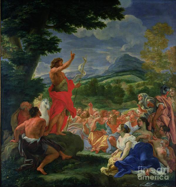 St. John The Baptist Preaching Poster featuring the painting St John The Baptist Preaching by II Baciccio - Giovanni B Gaulli