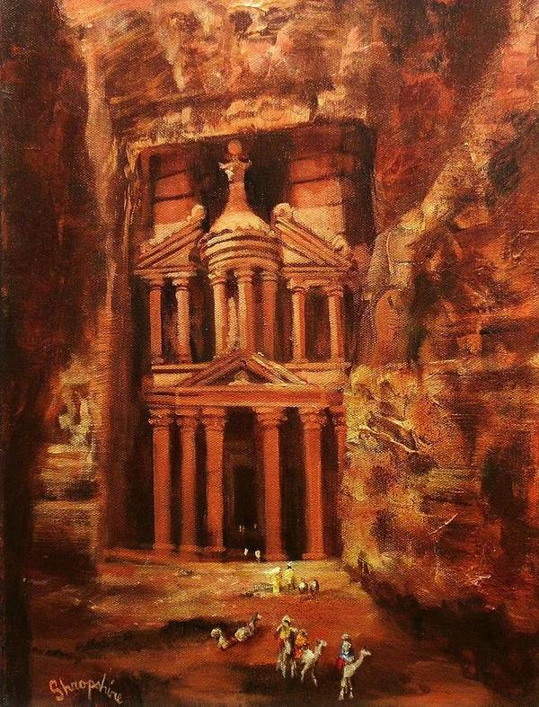 Jordan Poster featuring the painting Treasury Of Petra by Tom Shropshire