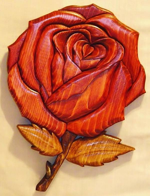 Intarsia Poster featuring the sculpture Rose by Russell Ellingsworth