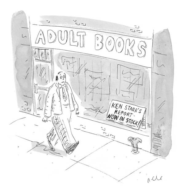 Pornography Poster featuring the drawing New Yorker September 21st, 1998 by Roz Chast