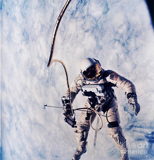 Extravehicular Activity Poster featuring the photograph First Spacewalk by Nasa