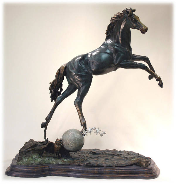 Bronze Poster featuring the sculpture The Moonhorse Bronze by Dawn Senior-Trask