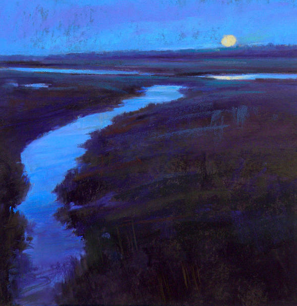 Marsh Poster featuring the painting Marsh Moon by Ed Chesnovitch
