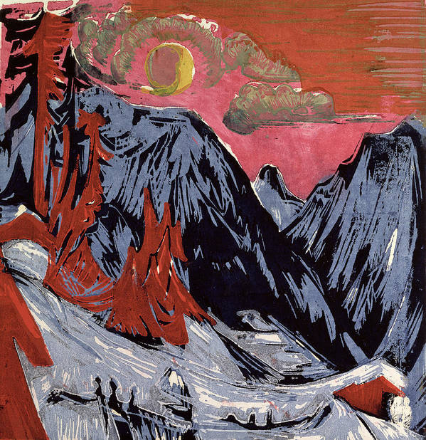 Mountains In Winter Poster featuring the painting Mountains In Winter by Ernst Ludwig Kirchner