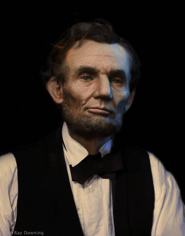 Abraham Lincoln Poster featuring the digital art Abraham Lincoln Portrait by Ray Downing