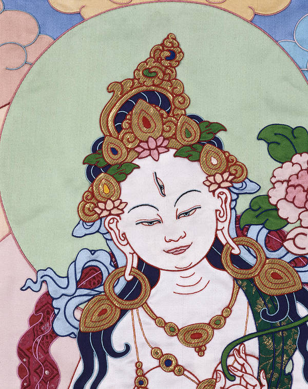 Buddha Poster featuring the tapestry - textile Meeting White Tara by Leslie Rinchen-Wongmo