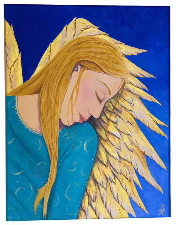 Painting Poster featuring the painting Dreaming Angel by Jacqueline Lovesey