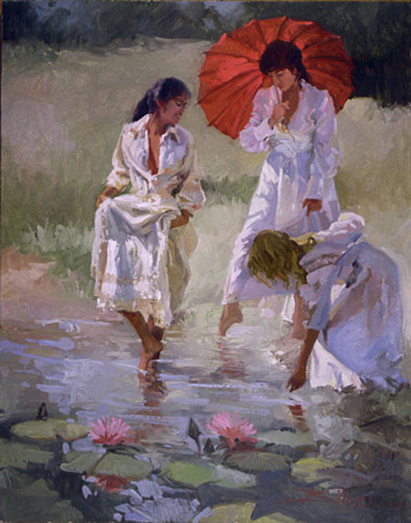 Figurative Poster featuring the painting Ladies And Lilies by Betty Jean Billups