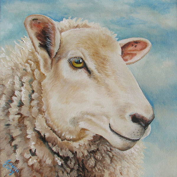 Sheep Poster featuring the painting Centaquil by Laura Carey
