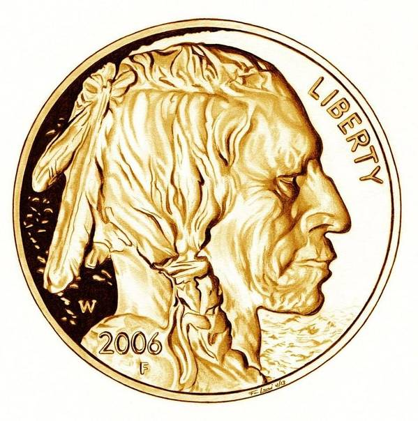 Coin Poster featuring the drawing Buffalo Nickel by Fred Larucci
