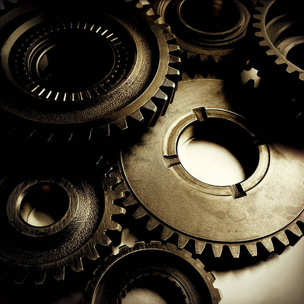 Gearing Poster featuring the photograph Cogs by Les Cunliffe