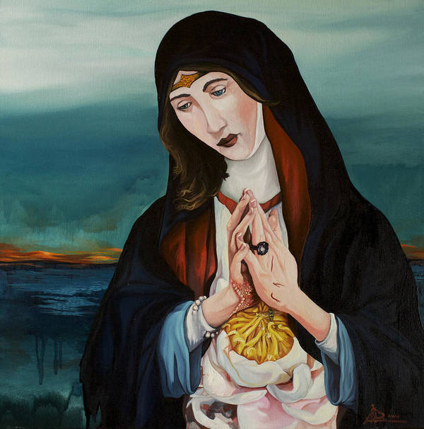 Prayer Poster featuring the painting A Woman In Prayer by Joseph Demaree