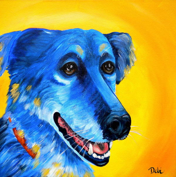 Dog Portrait Poster featuring the painting Amigo by Debi Starr