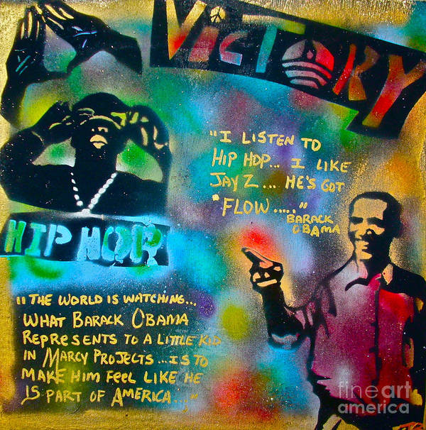 Barack Obama Poster featuring the painting Barack And Jay Z by Tony B Conscious