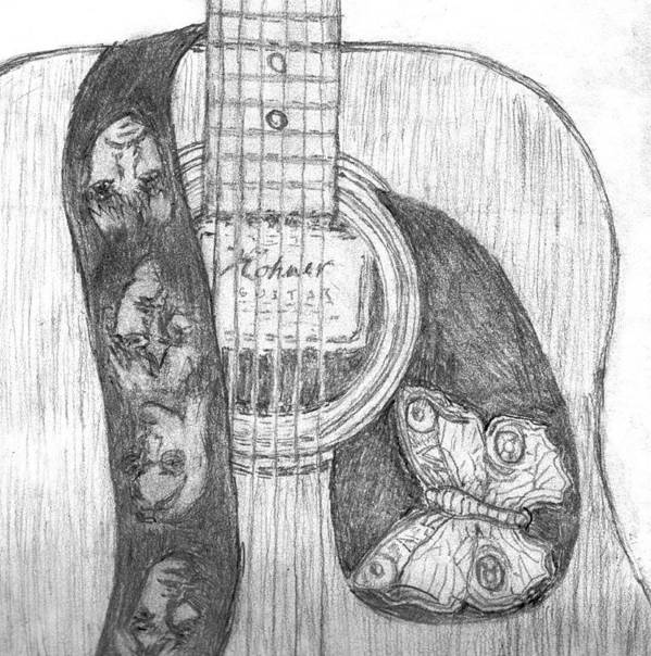 Poster featuring the drawing Beatles Guitar by Jon-Ross Habina