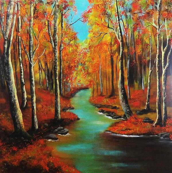 Landscape Poster featuring the painting Birch River by Barbie Baughman