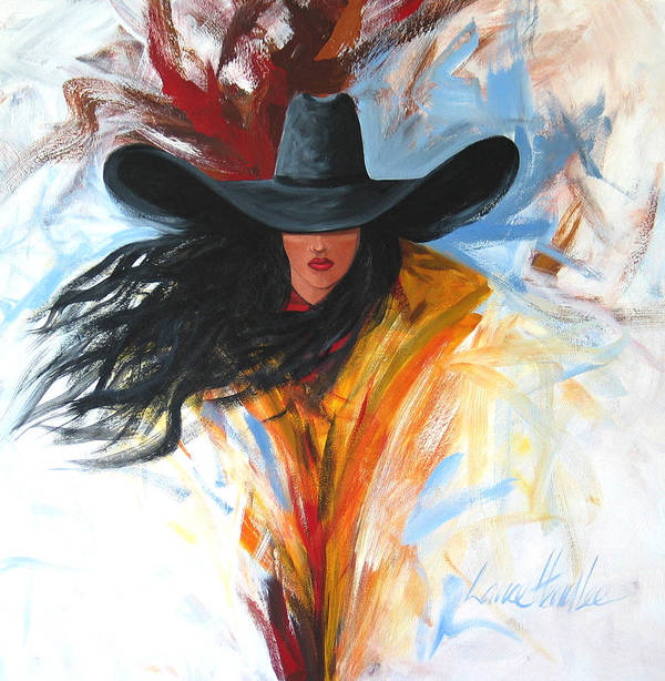 Cowgirl Poster featuring the painting Brushstroke Cowgirl by Lance Headlee