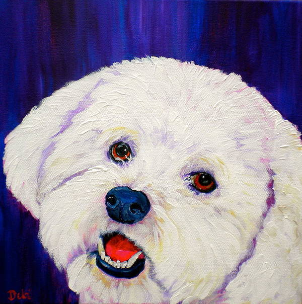 Bichon Frise Dogs Poster featuring the painting Buffy by Debi Starr