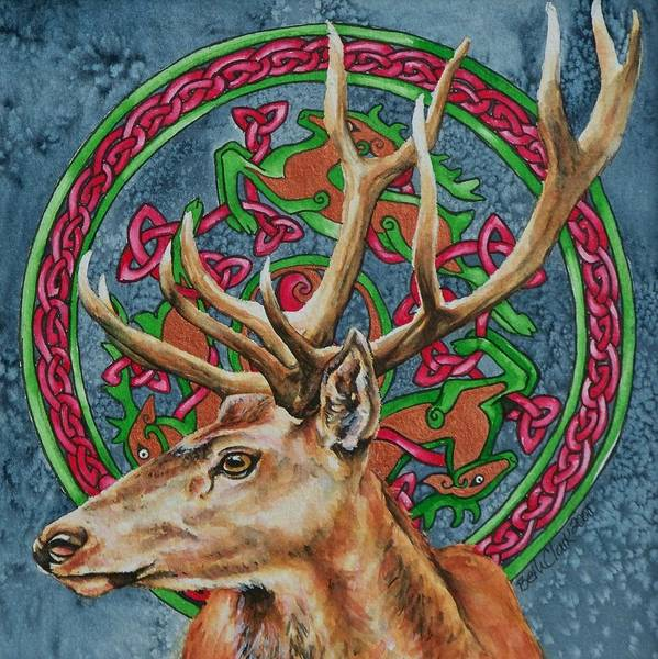 Celtic Poster featuring the painting Celtic Stag by Beth Clark-McDonal